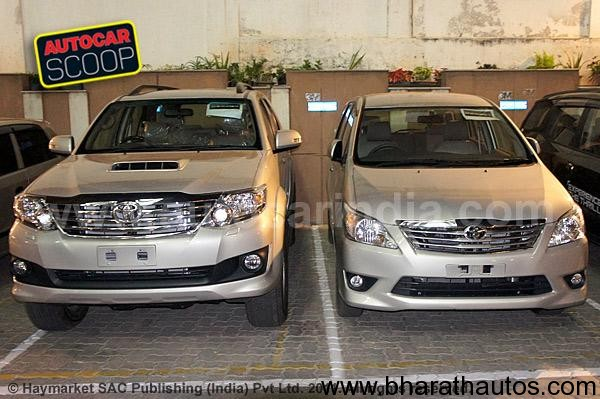 innova and fortuner at the auto expo 2012 the facelifted innova and