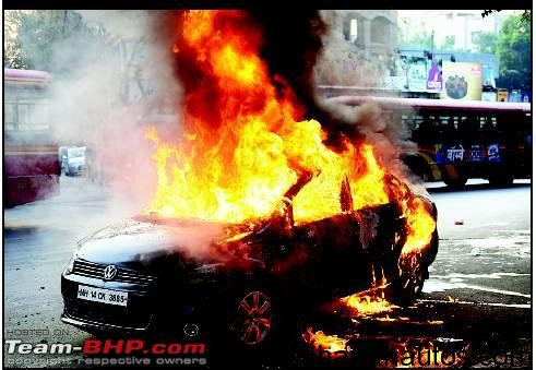 Volkswagen Vento bursts into flames in India