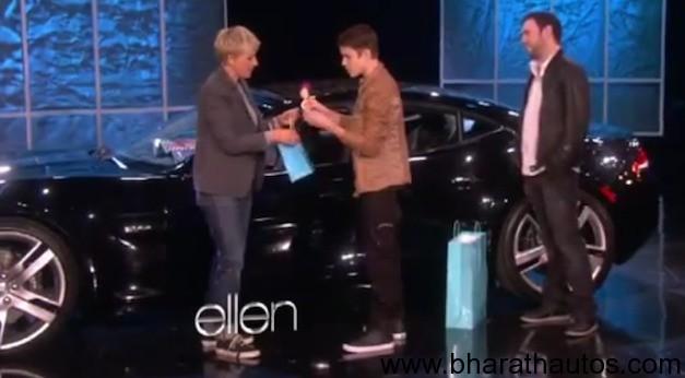 Justin Bieber gets Fisker Karma for his 18th birthday on Ellen