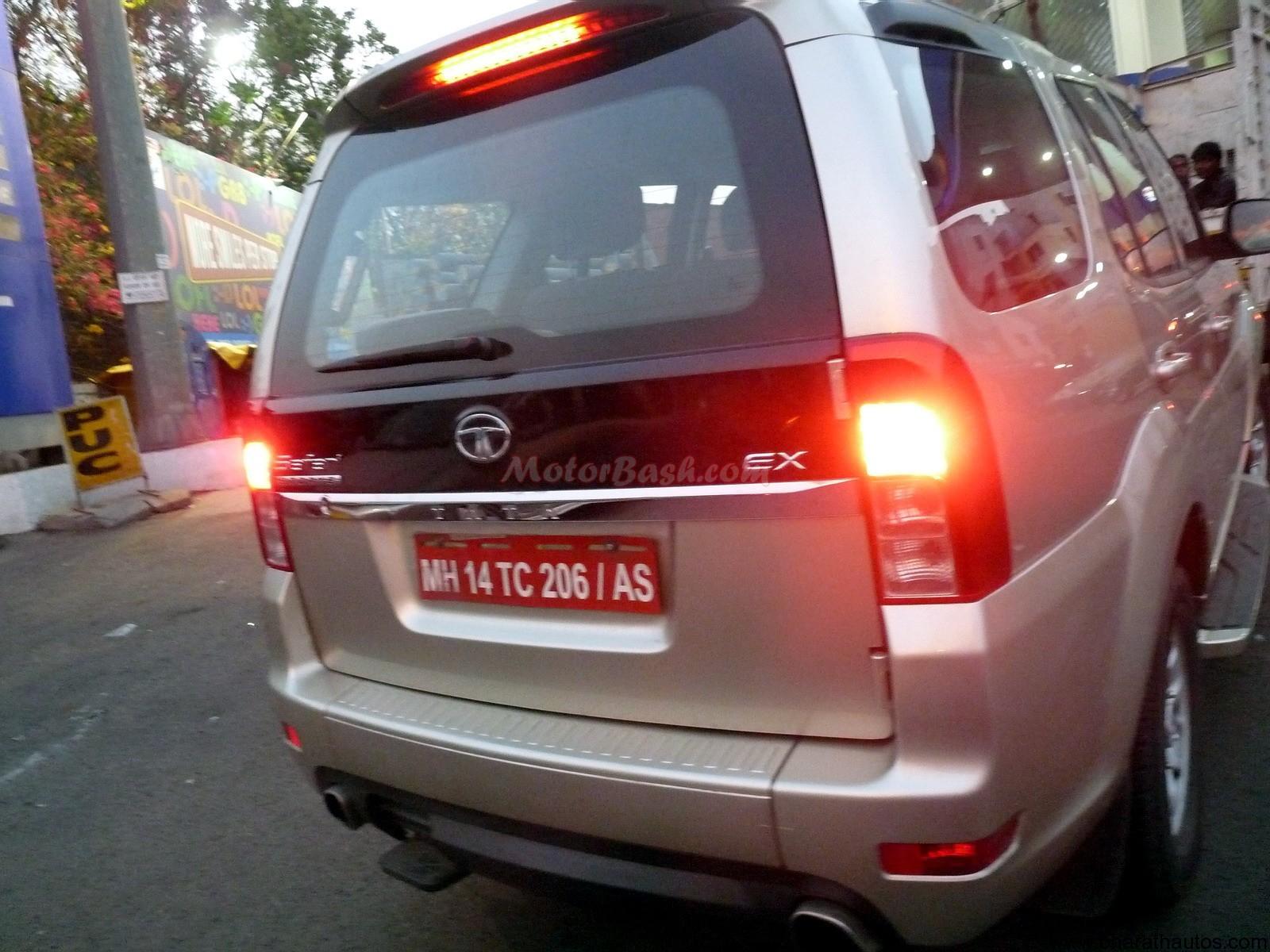See more spied pictures of Metallic Golden Tata Safari Strome SUV -