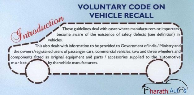 Voluntary Code on Vehicle Recall