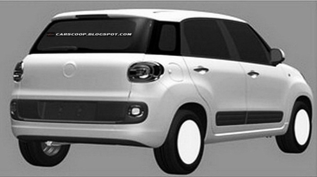 Fiat 500XL 7-seater patent drawings - RearView