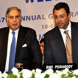 Tata Group Chairman Ratan Tata (left), with Tata Sons Deputy Chairman Cyrus P. Mistry at Tata Motors' annual meeting in Mumbai