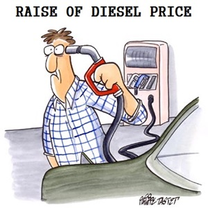 Diesel prices in India to be hiked