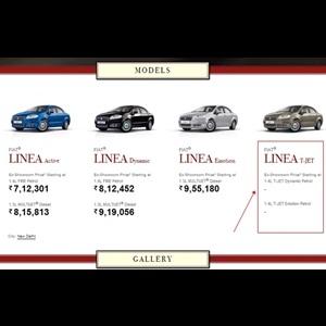 Fiat India website screenshot