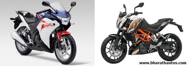 KTM 390 Duke VS Honda CBR 250R - FrontView