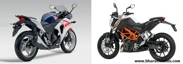 KTM 390 Duke VS Honda CBR 250R - RearView