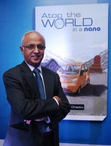 Mr. Thomas Chacko during the unveiling of his book Atop the World which summarizes his adventurous national expedition with the Nano.