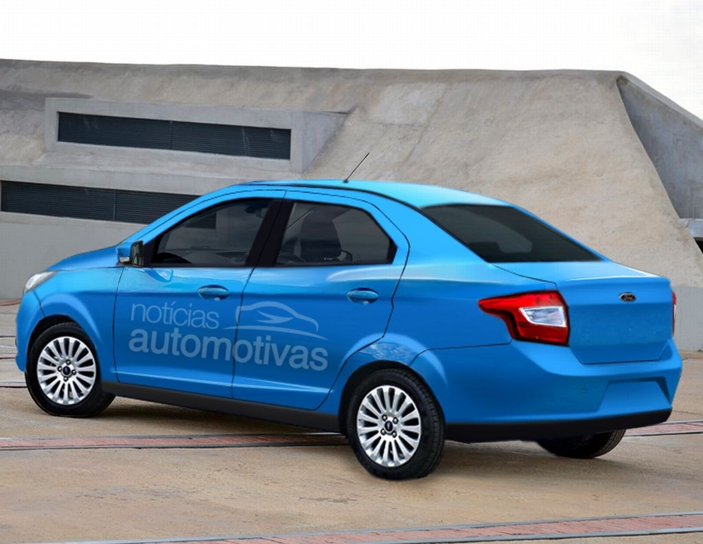 2015 ford figo ka sedan rendering spy shots. Black Bedroom Furniture Sets. Home Design Ideas