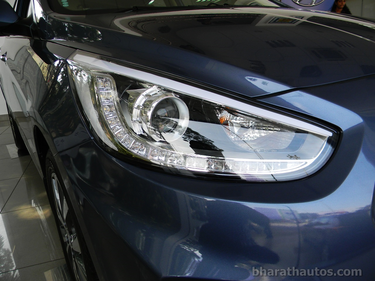 Fluidic hyundai verna seen with projector headlamps and led drls