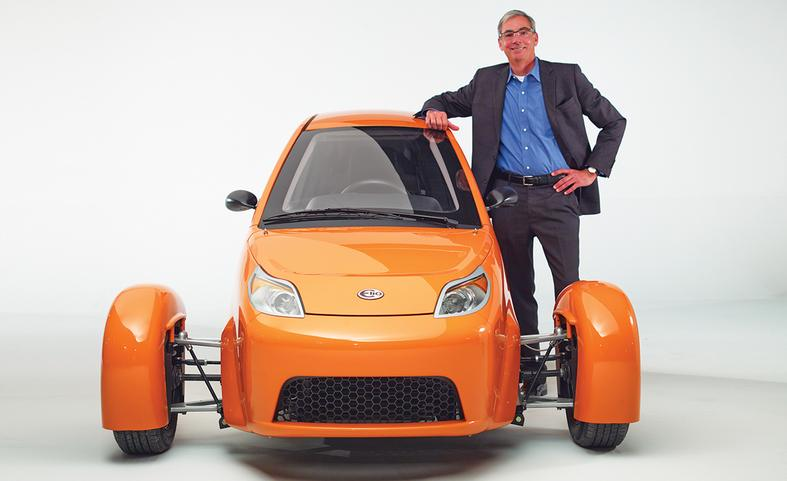 Company founder Paul Elio with the Elio prototype