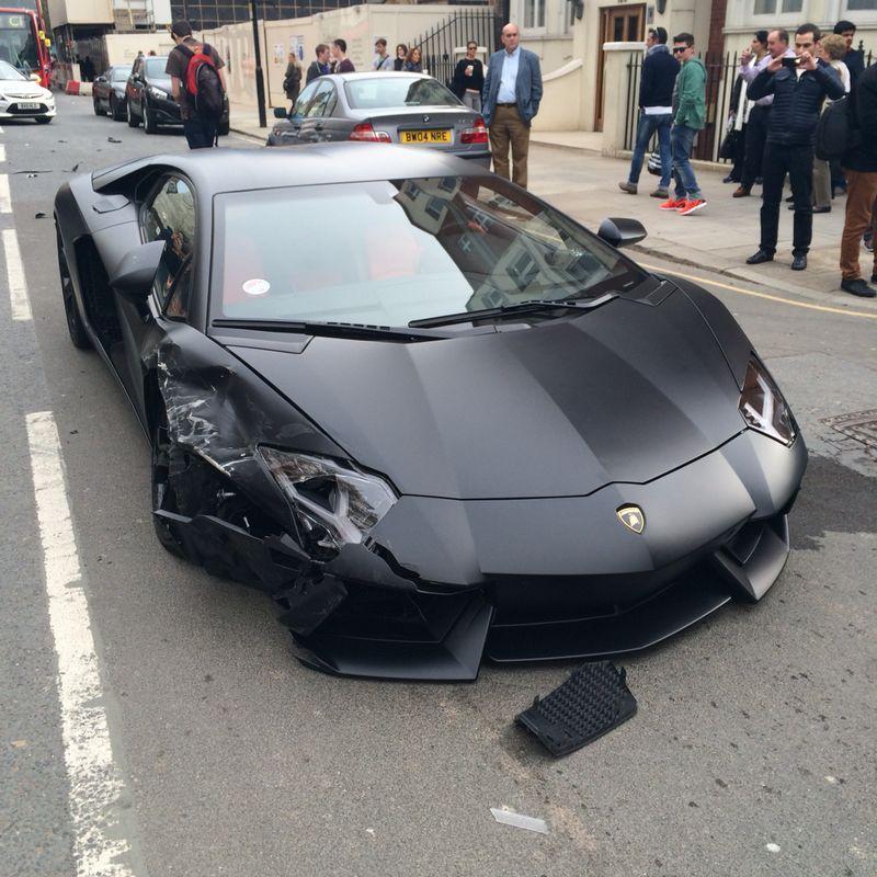 Wrecked Lamborghini For Sale: Matte Black Lamborghini Aventador Crashed Into Parked BMW
