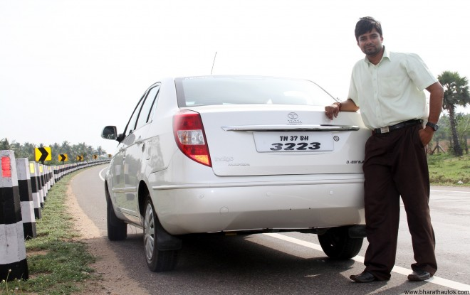 Mr. Narayanan Menon with his Tata Indigo Manza