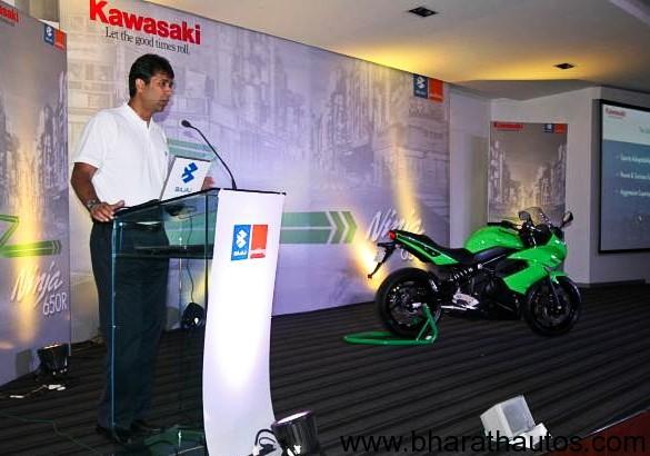 Mr.Rajiv Bajaj at Kawasaki Ninja 650R India Launch