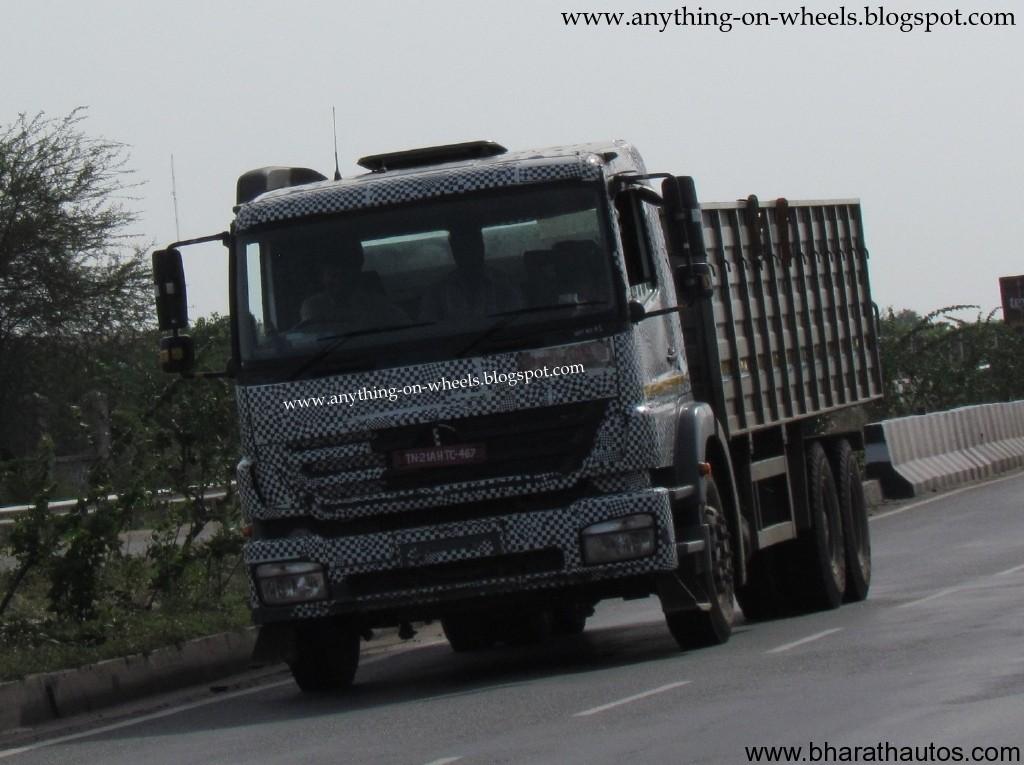 Spied Bharatbenz Daimler Trucks Near Chennai