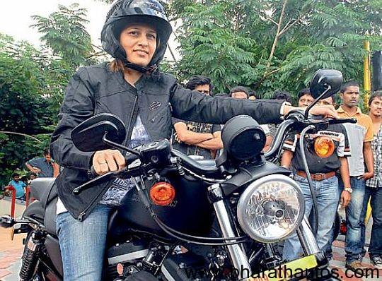 Kasthuri-Deodhar-on-a-Harley-Davidson-Sportster-Iron-883