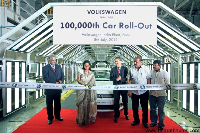 VW India rolls-out 100,000th car from Chakan plant