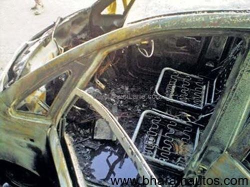 Tata Nano catches fire in Gujarat