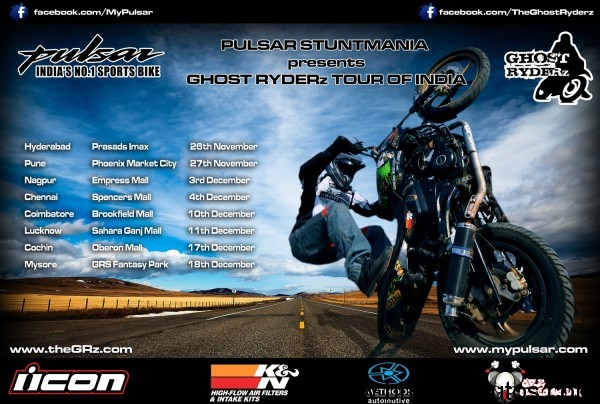 Ghost Ryderz on Pulsar - Tour de India!