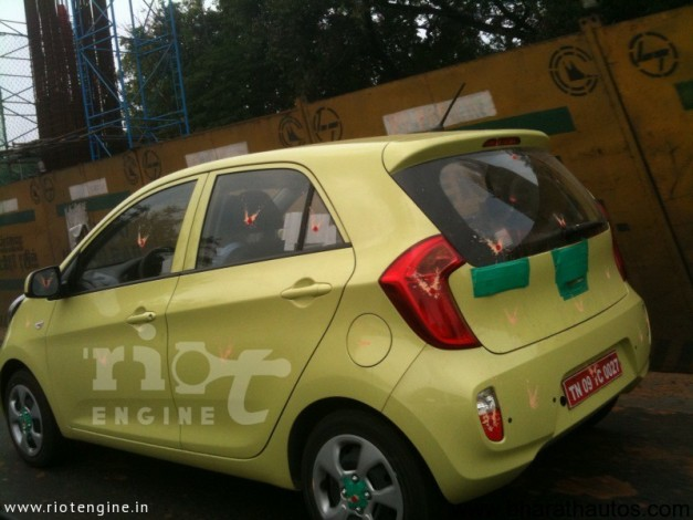 Kia Morning/Picanto spied in Chennai - RearView