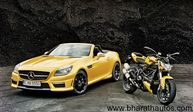Ducati Streetfighter 848 and Mercedes SLK 55 AMG