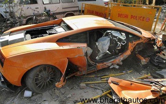 Lamborghini Gallardo Fatal Supercar Crash In Delhi Rear