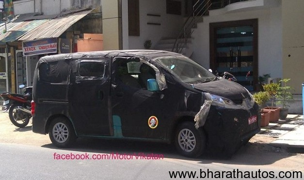 spied nissan evalia mpv expected to launch in august. Black Bedroom Furniture Sets. Home Design Ideas