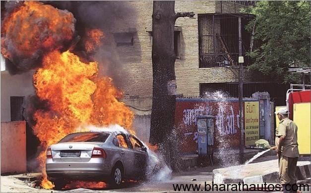 Skoda Rapid bursts into flames in Delhi