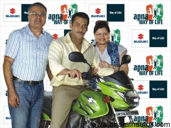 Suzuki Hayate 110cc commuter motorcycle - Salman Khan