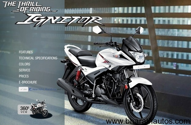 Hero Motocorp Updates Website With Ignitor Details Brochure And Price