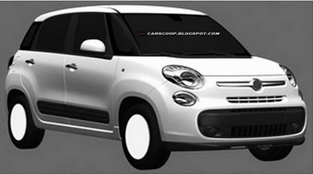 Fiat 500XL 7-seater patent drawings - FrontView
