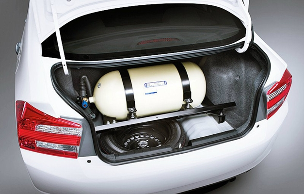 Honda City CNG variant - Round tank on the boot