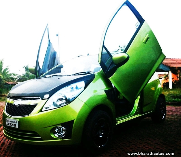 Chevrolet Beat With Lambo Doors At Mangalore