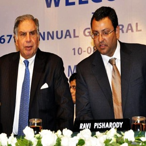 Tata Group Chairman Ratan Tata (left), with Tata Sons Deputy Chairman Cyrus P. Mistry at Tata Motors