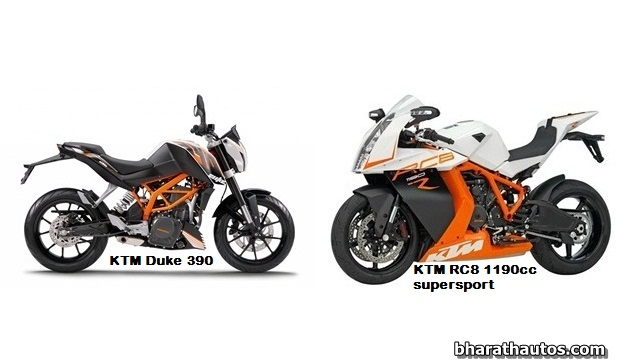 ktm to launch duke 390 and rc8 inspired 250cc sportbike in india