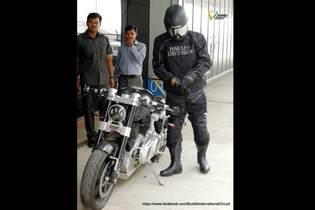 MS Dhoni with his Hellcat bike - 003