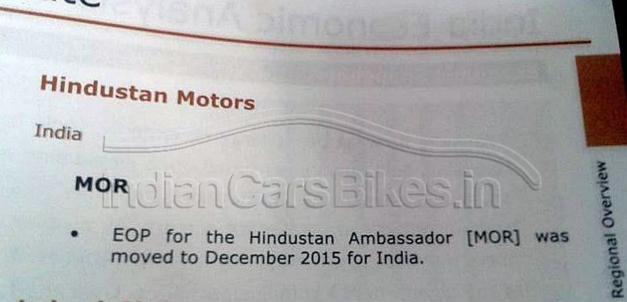 Hindustan Ambassador Production Plan