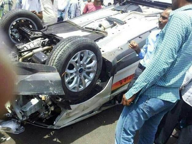 Ford EcoSport toppled again during a testdrive in Gandhinagar, Gujarat