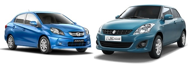 Honda Amaze VS Maruti Swift DZire - FrontView