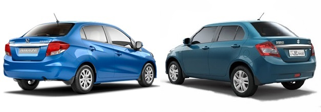 Maruti Swift Dzire VS Honda Amaze - RearView