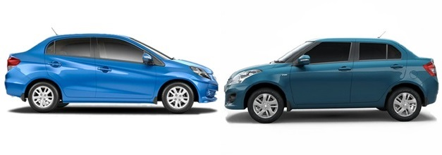 Maruti Swift Dzire VS Honda Amaze - SideView