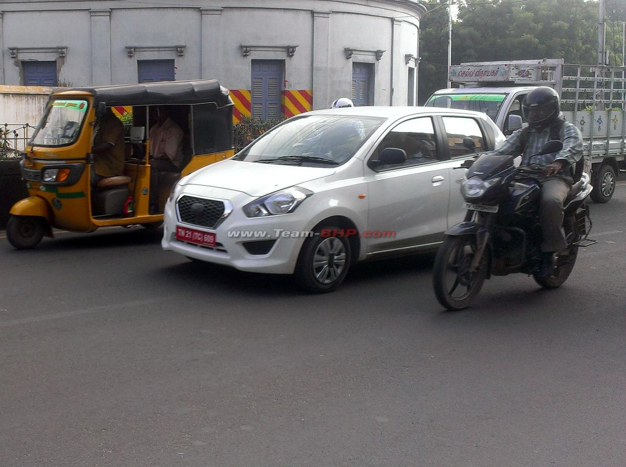 datsun go hatchback spied for the first time