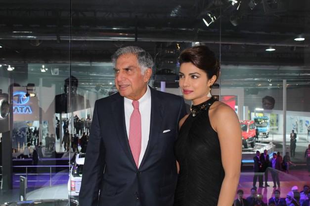 Mr. Ratan Tata, Chairman Emeritus Tata Group and Bollywood actress Priyanka Chopra at the Jaguar Land Rover stand