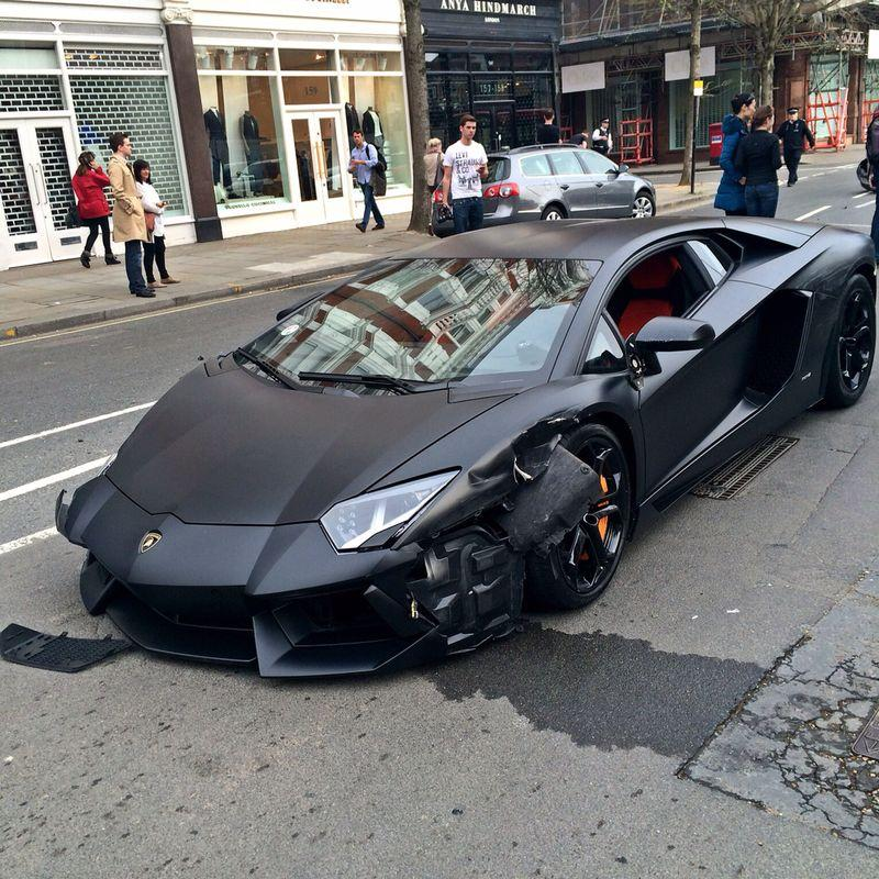 Matte Black Lamborghini Aventador Crashed Into Parked Bmw