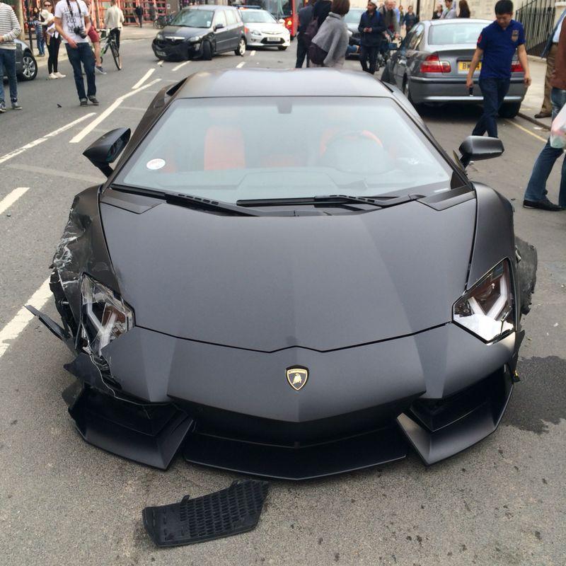 Matte Black Lamborghini Aventador Crashed Into Parked Bmw 320d Video