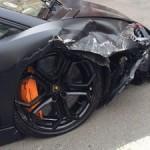 matte-black-lamborghini-aventador-smashes-parked-bmw-320d