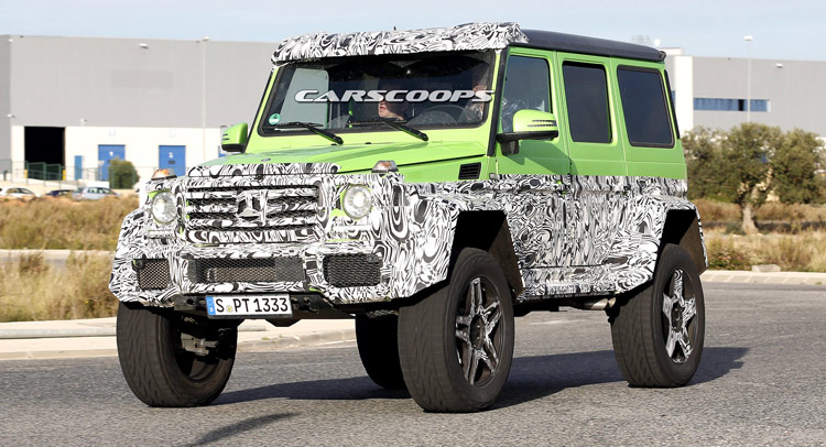 Spied mercedes 39 g63 amg 4x4 is a junior version of for Mercedes benz g wagon 6x6 for sale