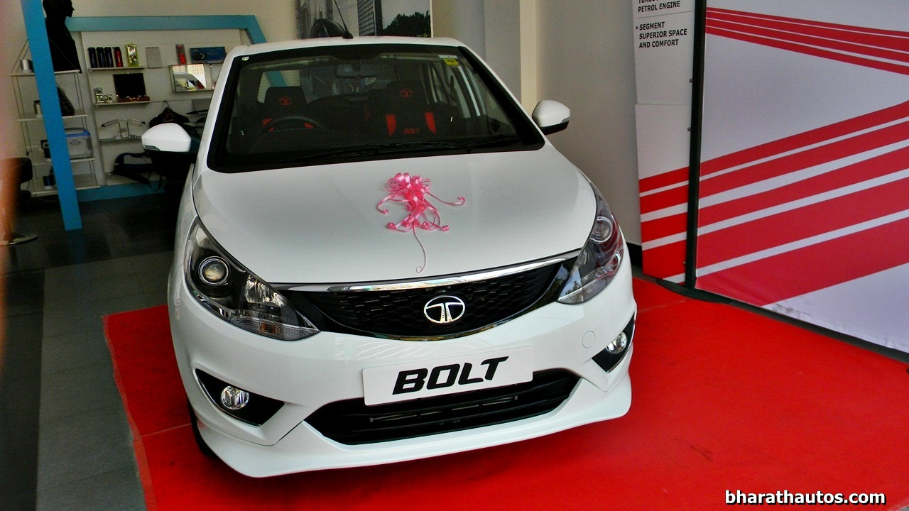Tata Bolt snapped with a customized body kit at dealership ...