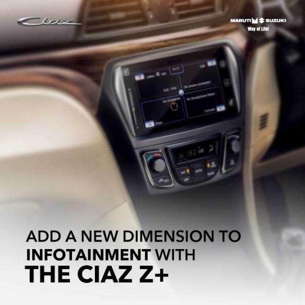 maruti-ciaz-z-plus-diesel-variant-smartplay-infotainment-system.