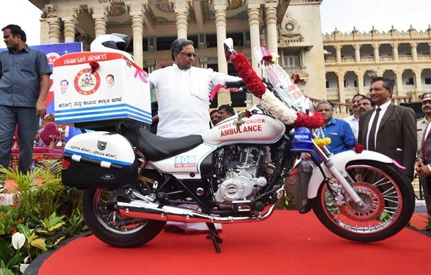 bajaj-avenger-two-wheeler-motorcycle-bike-ambulances-cm -siddaramaiah.